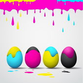 Funny Easter eggs - Cyan, magenta, yellow, black color — Stock Vector