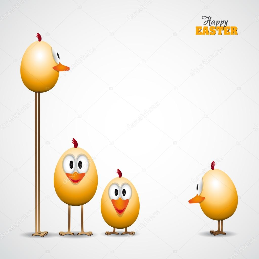 Funny easter eggs chicks background illustration happy easter