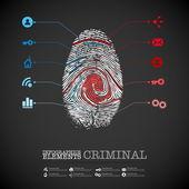 Criminal theme finger stamp — Stock Vector