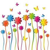 Fondo de flores de papel — Vector de stock