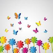 Papierowe kwiaty i motyle — Wektor stockowy