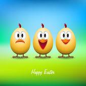 Happy easter - Funny chicken eggs — Stock Vector