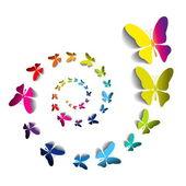 Paper butterflies in spiral — Vector de stock