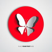 Přání s papír butterfly — Stock vektor