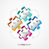 Four colorful Paper puzzle — Stockvektor
