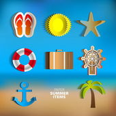 Paper summer poster set — Stock Vector