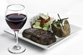 Steak Dinner and Red Wine — Stock Photo