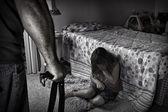 虐待儿童的写照 — 图库照片