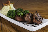 Pork Tenderloin with Mashed Potato and Brocolli — Stock Photo