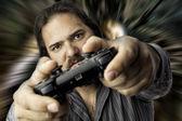 Homem isolado com controlador de vídeo game — Foto Stock