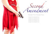 Woman with gun with text — Stock Photo