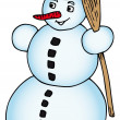Snowman with broomstick — Stock Vector