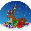 Stock Vector: Reindeer with gifts