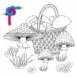 Coloring image mushrooms — Stock Vector