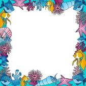 Sealife frame blue — Stock Vector