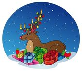 Reindeer with gifts — Stock Vector
