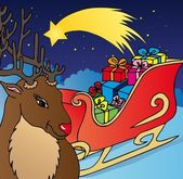 Reindeer and sled — Stock Vector