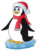 Penguin with Xmas cap — Stockvector