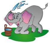 Elephant make shower — Vector de stock