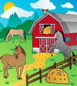 Barn and horses — Stock Vector