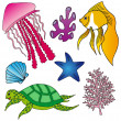Stock Vector: Various marine animals collection 2