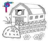 Coloring image barn — Stock Vector