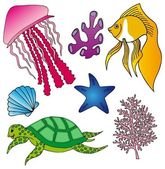 Various marine animals collection 2 — Stock Vector