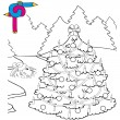 Coloring image Xmas tree — Stockvektor