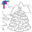 Coloring image Xmas tree — Stock Vector