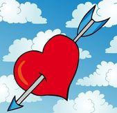Pierced heart on sky — Stock Vector