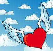 Latający serca na niebo — Wektor stockowy