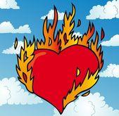 Burning heart on sky — Stock Vector