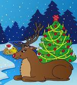 Landscape with reindeer — Stock Vector