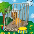 Lion in cage — Stock Vector
