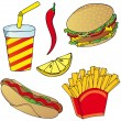 Stock Vector: Various fast food collection 02