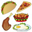 Stock Vector: Various fast food collection