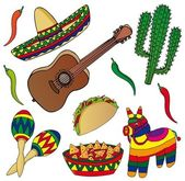 Set of various Mexican images — Stock Vector