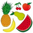Fruits on white background - Stock Vector
