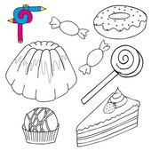 Coloring image cakes collection — Stock Vector