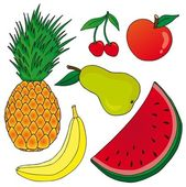 Fruits on white background — Stock Vector