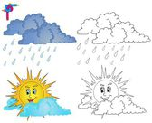 Coloring image weather 4 — Stock Vector