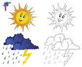Coloring image weather 3 — Stock Vector