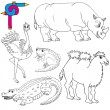 Coloring image wild animals 02 — Stock Vector