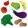 Stock Vector: Vegetables and fruits collection 01