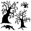 Spooky trees silhouette collection — Stock Vector