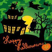 Green spooky house 02 — Stock Vector