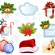 Collection of Christmas objects — Stock Vector