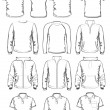 Collection of men clothes outline templates - Stock Vector