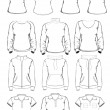 Collection of women clothes outline templates — Stock Vector