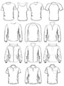 Collection of men clothes outline templates — Stock Vector